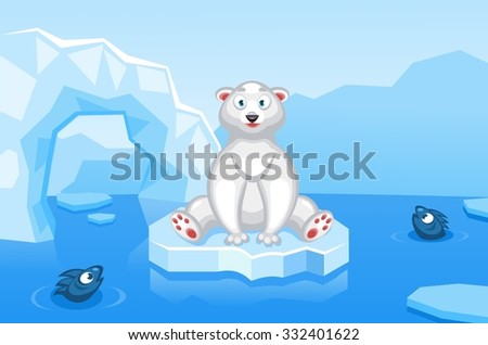 Illustration of a polar bear on an arctic vector background with ice floes, icebergs, water and fishes - stock vector
