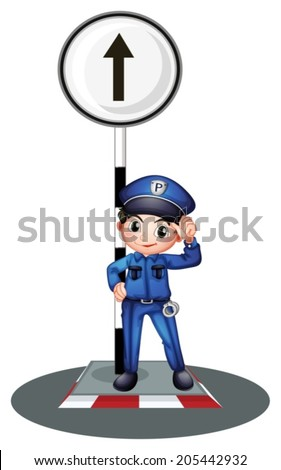 Illustration of a policeman near the post on a white background - stock vector