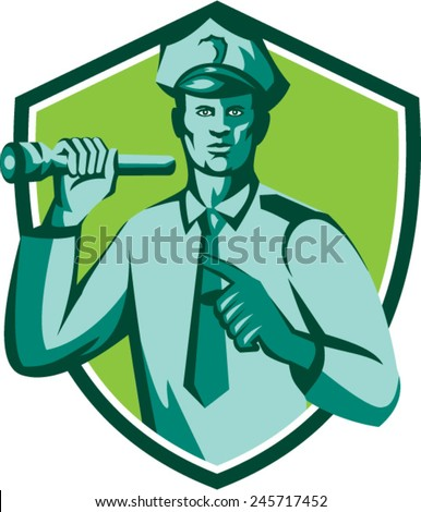 Illustration of a policeman police officer holding torch flashlight pointing facing front  set inside shield crest on isolated background done in retro style. - stock vector