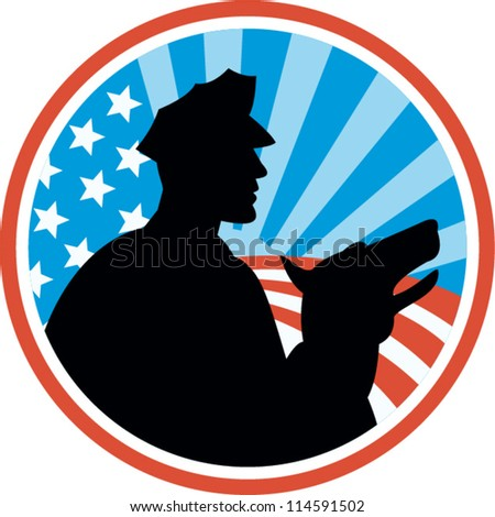 Illustration of a policeman security guard with police dog with American stars and stripes set inside circle done in retro style.