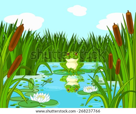 Illustration of a pond scene with frog sits on the lily - stock vector