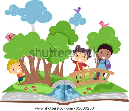 Illustration of a Pop Up Book with a Forest Theme - stock vector