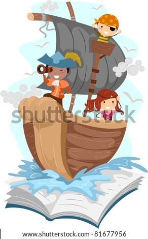 Illustration of a Pop Up Book with a Pirate Theme - stock vector