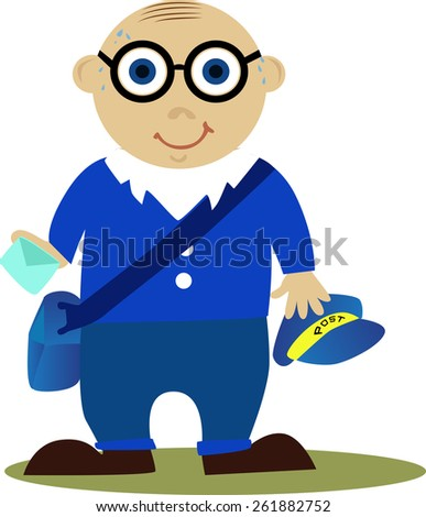 Illustration of a postman in blue uniform with letter, isolated on white background. - stock vector