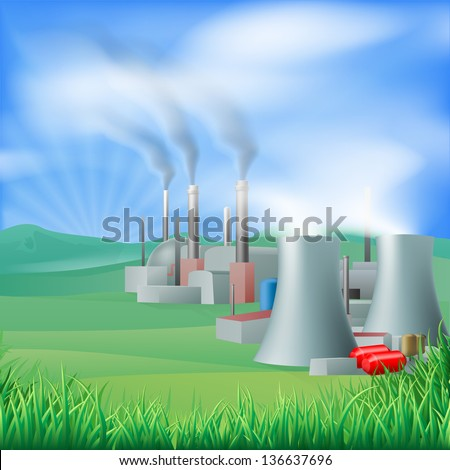Illustration of a power plant generating power and electricity. Could be fossil fuel or other plant with chimneys and cooling towers, e.g. geothermal - stock vector