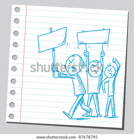 Illustration of a protesters - stock vector