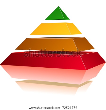 illustration of a pyramid with four colored levels - stock vector