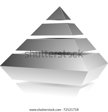 illustration of a pyramid with four levels - stock vector