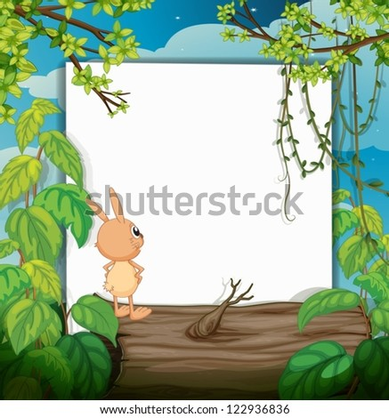 Illustration of a rabbit and a white board in a beautiful nature