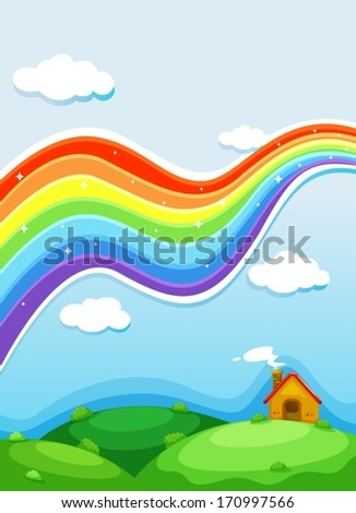 Illustration of a rainbow above the hills