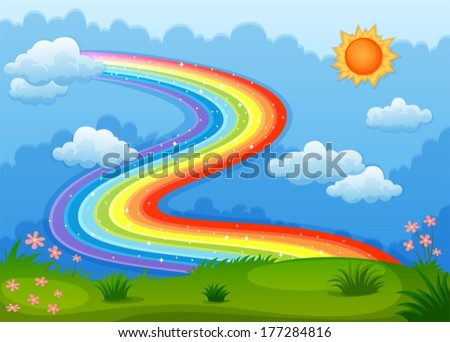 Illustration of a rainbow with sparkling stars above the hills - stock vector