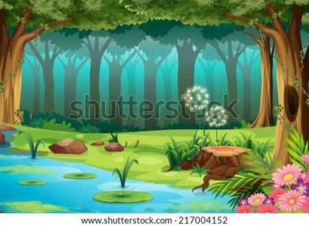 illustration of a rainforest with no animals - stock vector