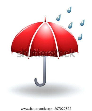 Illustration of a rainy weather on a white background - stock vector