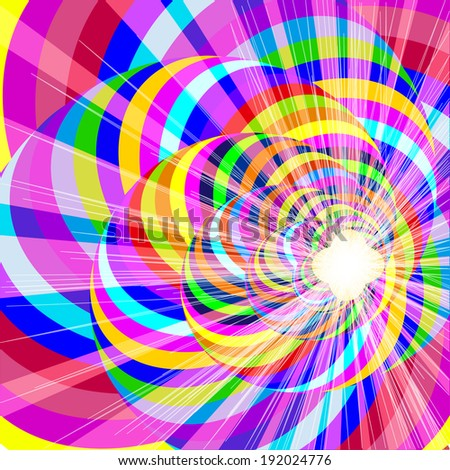 illustration of a range of backgrounds with spiral lines and bright flash - stock vector