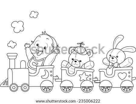 Illustration of a Ready to Print Coloring Page Featuring a Baby Riding a Toy Train - stock vector
