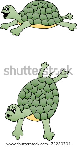 Illustration of a really cute turtle - stock vector