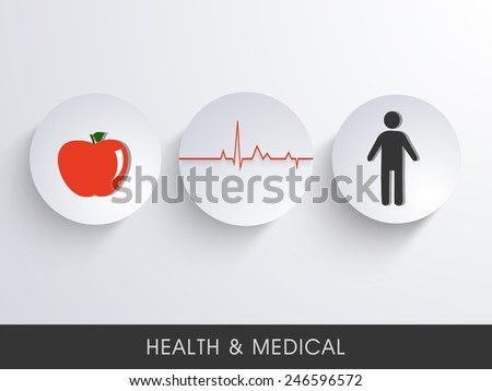Illustration of a red apple and a human body connected with heart beat. - stock vector