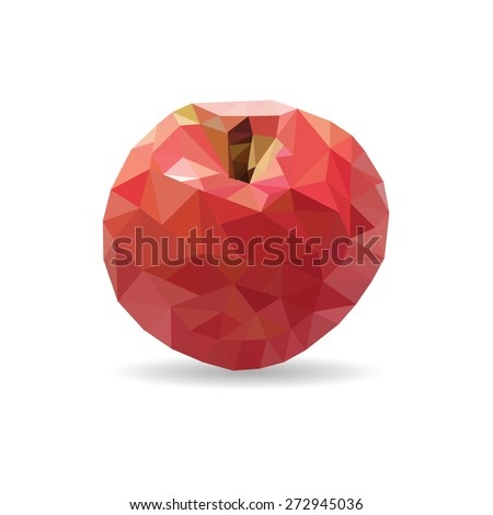 Illustration of a red apple on white background in low poly style