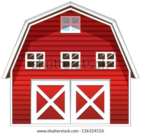 Farm Scene Vegetable Garden Barn Illustration Stock Vector