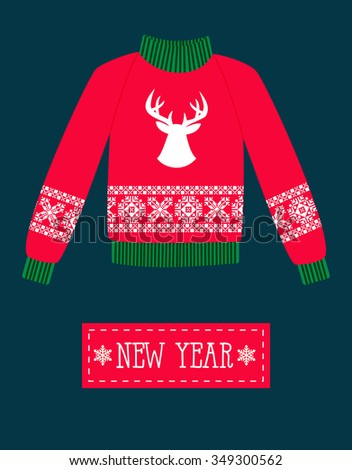 illustration of a red Christmas sweater with deer. - stock vector