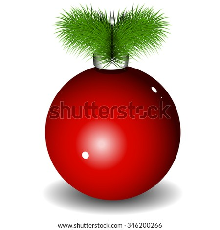 Illustration of a red New Year ball with Christmas tree - stock vector