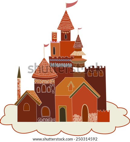 illustration of a red palace - stock vector
