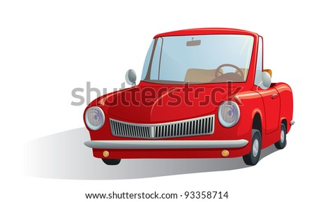illustration of a red retro car