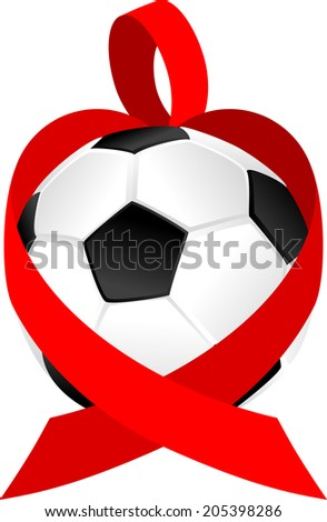 illustration of a red ribbon forming a heart wrapped around a volleyball.