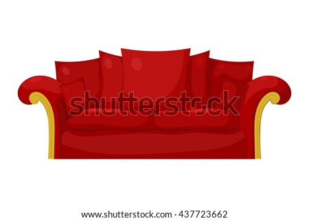Illustration of a red sofa with pillows on a white background. Isolate. Stock vector