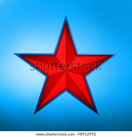 illustration of a red star on blue background. EPS 8 vector file included - stock vector
