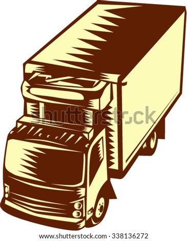 Illustration of a refrigerated truck viewed from hi-angle set on isolated background done in retro woodcut style.  - stock vector