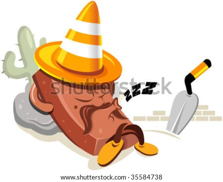 Illustration of a relaxing brick wearing a traffic cone on top of the head like a mexican with a somprero hat. You can use this illustration for website under construction purposes.