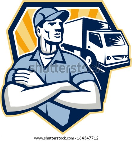 Illustration of a removal man delivery guy with moving truck van in the background set inside a shield done in retro style.