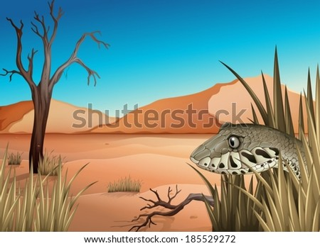 Illustration of a reptile in the dessert - stock vector