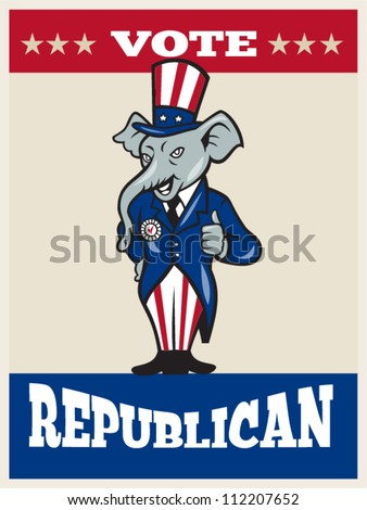 Illustration of a republican elephant mascot of the republican party wearing hat and suit thumbs done in cartoon style with words vote republican - stock vector