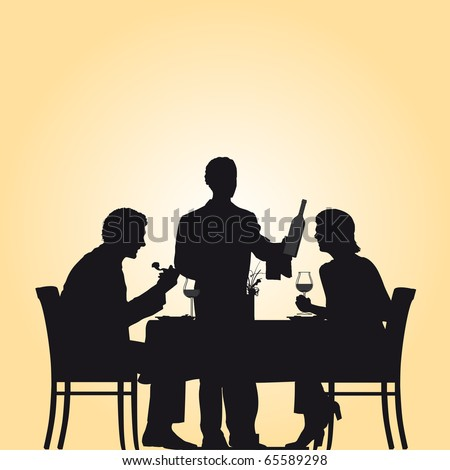 Illustration of a restaurant scene were a woman and a man enjoy their dinner while the waiter is serving the wine