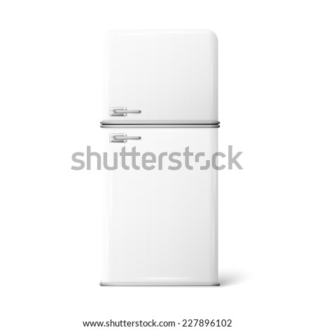 Illustration of a retro fridge on a white background - stock vector