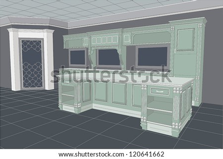 Illustration of a retro kitchen