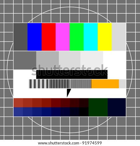 illustration of a retro tv test image, eps 8 vector - stock vector
