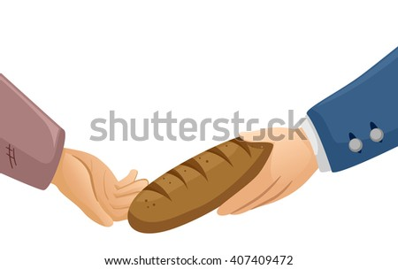 Illustration of a Rich Man Handing a Piece of Bread to a Poor Guy - stock vector