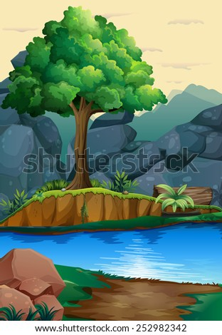 Illustration of a river run through a forest - stock vector