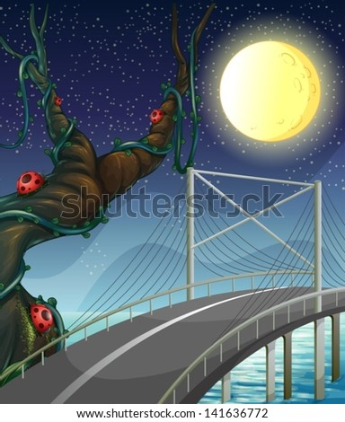 Illustration of a road above the river near the tree with bugs - stock vector