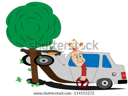 Illustration of a road accident and the man with the wheel - stock vector