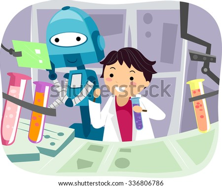 Illustration of a Robot Helping a Little Scientist with Experiments - stock vector