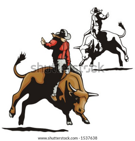 Illustration of a rodeo cowgirl riding a bull.