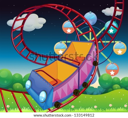 Illustration of a roller coaster ride at the carnival - stock vector