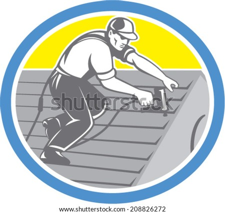 Illustration of a roofer construction worker roofing working on house roof with nail gun nailgun nailer set inside circle done in retro style. - stock vector