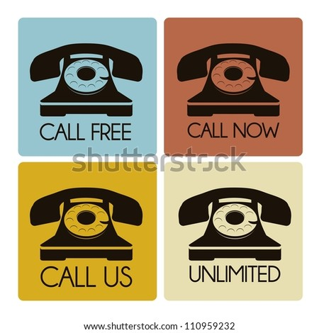illustration of a rotary phone, black color, vector illustration - stock vector
