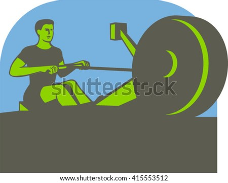 Illustration of a rower exercising on a rowing machine viewed from front set inside half circle done in retro style.  - stock vector
