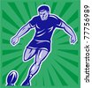 illustration of a rugby player kicking ball front view with sunburst in background done in retro style - stock vector